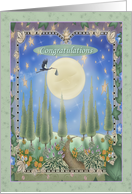 Stork flying over the Moon with Bundle of Joy, Congratulation on Birth card