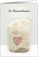 In Remembrance Anniversary Birch Candle with Heart card