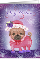 Merry Christmas to Friend with Cute Pug in Red Hat card