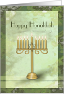 Happy Hanukkah with Gold Menorah Lit Candles card