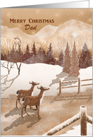 Merry Christmas Dad with Twin Deer, Monochromatic Color Winter Scene card