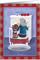 Merry Christmas Piano Teacher with Child, Teacher at Piano card