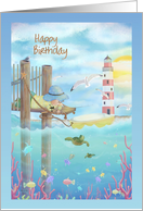 Happy Birthday with Child Fishing From Pier, Lighthouse, Sea Life card