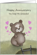 Happy Anniversary Groundhog Day with Cute Groundhog Hearts card