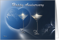 Wedding Anniversary Two Silver Heart Goblets with Blue card