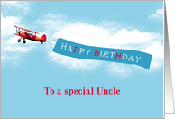 Happy Birthday to a special Uncle, Airplane, Banner card