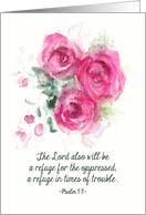 Christian Get better soon Card, Psalm 9:9, Watercolor Roses card