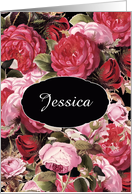 Customize for any Name, any occasion, blank inside, vintage Roses card