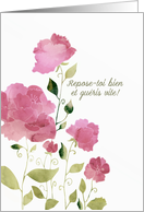 Get Well Soon in French, Bon rétablissement, Watercolor Peonies card