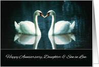 Happy Wedding Anniversary, Daughter and Son in Law, Swans card