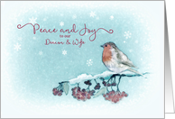 Peace and Joy to our Deacon and Wife at Christmas, Robin card