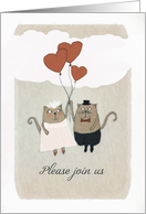 Please join us, Wedding Invitation, Two Cats in Love, card