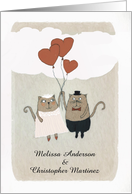 Customize, Please join us, Wedding Invitation, Two Cats in Love, card