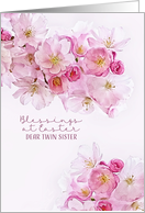 Blessings at Easter, Twin Sister, Cherry Blossoms card