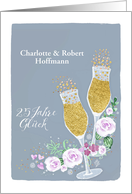 Invitation 25th Wedding Anniversary, German, Einladung Silberhochzeit card