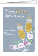 Customizable Aunt And Uncle Happy Golden Anniversary Champagne Card