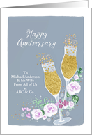 From all of us, Happy Anniversary, Champagne, Faux Gold card