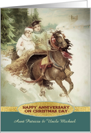 Customizable, Happy Anniversary on Christmas Day, Vintage, Gold Effect card