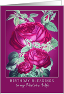 Birthday Blessings to my Pastor's Wife, Purple/Red Roses card