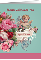 Hugs and Kisses, Happy Valentine's Day, Vintage Cherub, Roses card