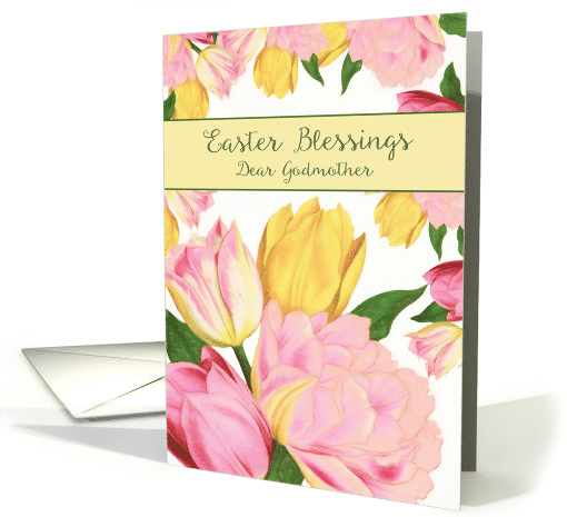 Dear Godmother, Easter Blessings, Tulips card (1465250)