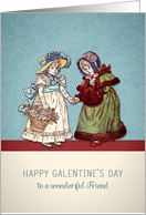 To a wonderful Friend, Happy Galentine's Day, vintage card