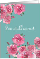 Get Well Soon in French, Bon Rétablissement, Watercolor Roses card