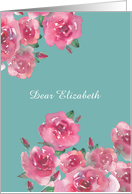 Customizable Blank, Any Occasion Note Card, Watercolor Roses card