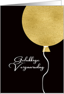 Happy Birthday in Afrikaans, Gold Glitter/Foil effect Balloon card