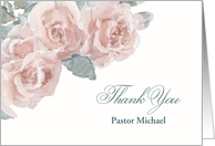 Customize, Thank You, Clergy, Memorial Service, Watercolor Roses card