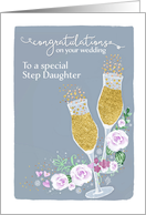 Step Daughter, Congratulations on your Wedding, Fizzy Champagne card