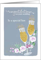 Son, Congratulations on your Wedding, Fizzy Champagne card