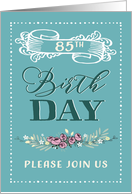 85th Birthday Party Invitation Vintage Mint Card
