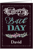 Customizable, Happy Birthday, Word-Art, Floral, Trendy, Black card