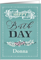 Customizable, Happy Birthday, Word-Art, Floral, Trendy, Mint card
