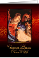 Christmas Blessings, Deacon and Wife, Nativity, Gold Effect card