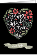 Dear Wife, Happy Mother's Day, Flowers & Birds card