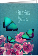 Happy Birthday in Latin, Felix Dies Natalis, Butterflies and Roses card