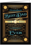 To my Grandson, Happy Father's Day, Retro, Gold-Effect card