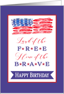 Happy Birthday, Happy 4th of July, Red, White, Blue card