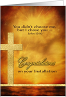 Congratulations on your Installation, Christian, Gold-Effect, Cross card