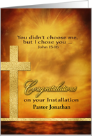 Customizable, Congratulations Installation Pastor, Gold-Effect card