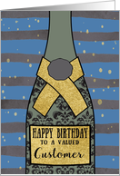 To a valued Customer, Happy Birthday, Champagne, Foil Sparkle-Effect card