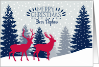 Dear Nephew, Merry Christmas, Reindeer, Forest card