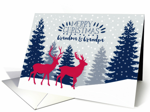 Grandma and Grandpa, Merry Christmas, Reindeer, Forest card (1537936)