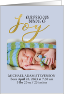 Photo Card, Bundle of Joy, Birth Announcement Baby Boy, Blue, Gold card