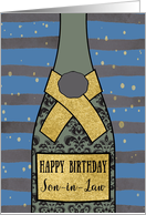 Son-in-Law, Happy Birthday, Champagne, Gold-Effect card