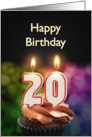 20th birthday with candles card