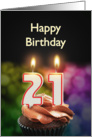 21st birthday with candles card