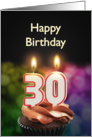 30th birthday with candles card